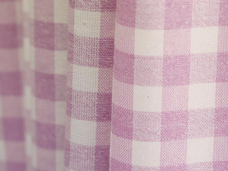 安心の日本製!カジュアルでおしゃれな非遮光ギンガムチェック柄カーテン 『キャンジーナ ピンク』