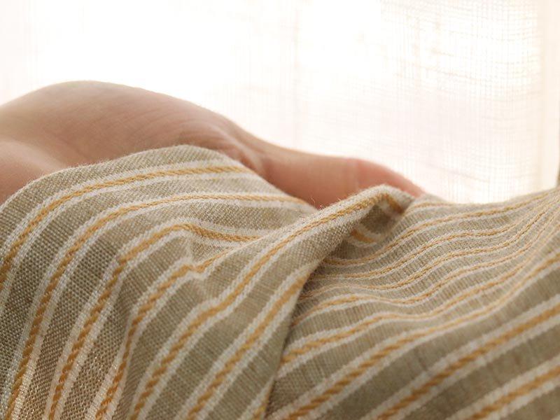 洗える!フレンチアンティーク風ストライプ柄カーテン 『ムクラシ イエロー』