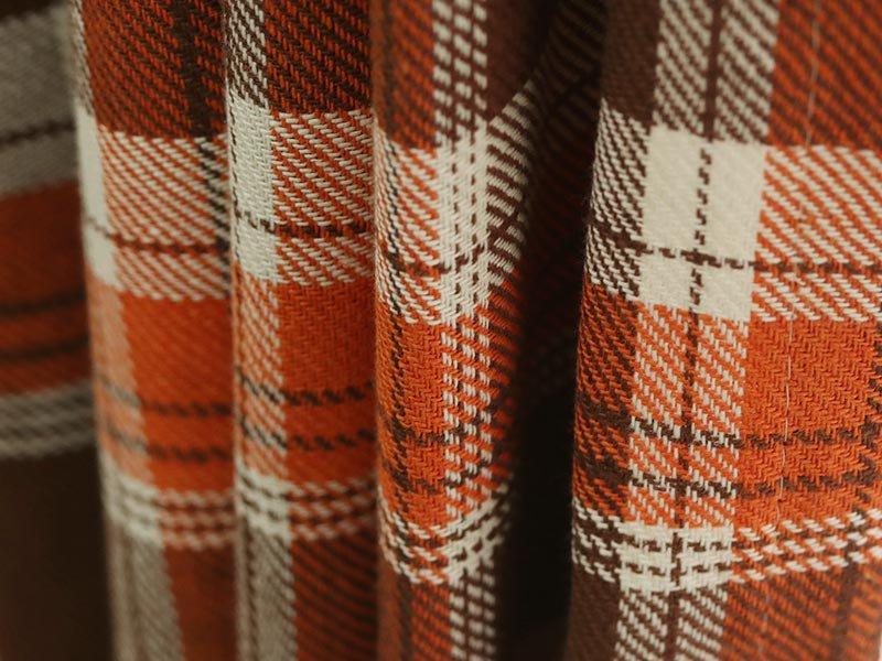 綿麻混のおしゃれでカジュアルなタータンチェック柄カーテン 『エルフ オレンジ』