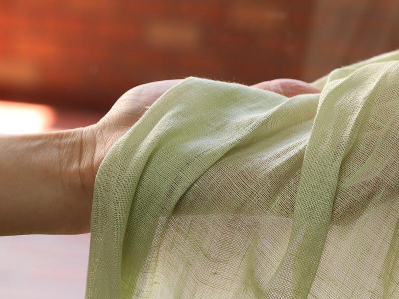 リネン100%!天然素材のおしゃれな国産レースカーテン 『ノルカ グリーン』■欠品中(次回5月中旬入荷予定)