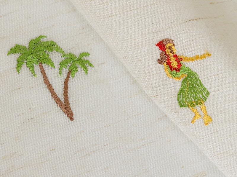 小さい刺繍のワンポイントが可愛い!ハワイアン柄レースカーテン 『マハロ』