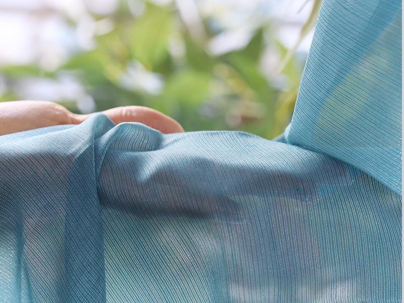 自然な透け感で窓辺を彩る!カラーとシルエットが美しいレースカーテン 『シエント ブルー』■欠品中(次回入荷未定)