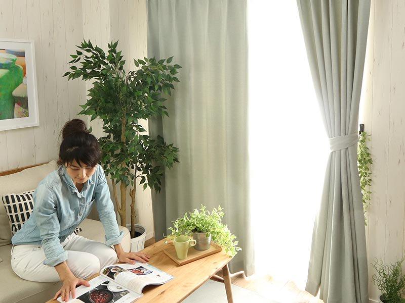 100サイズから選べる!遮光+防炎+遮熱+ウォッシャブル既製カーテン 『レクト グレー』