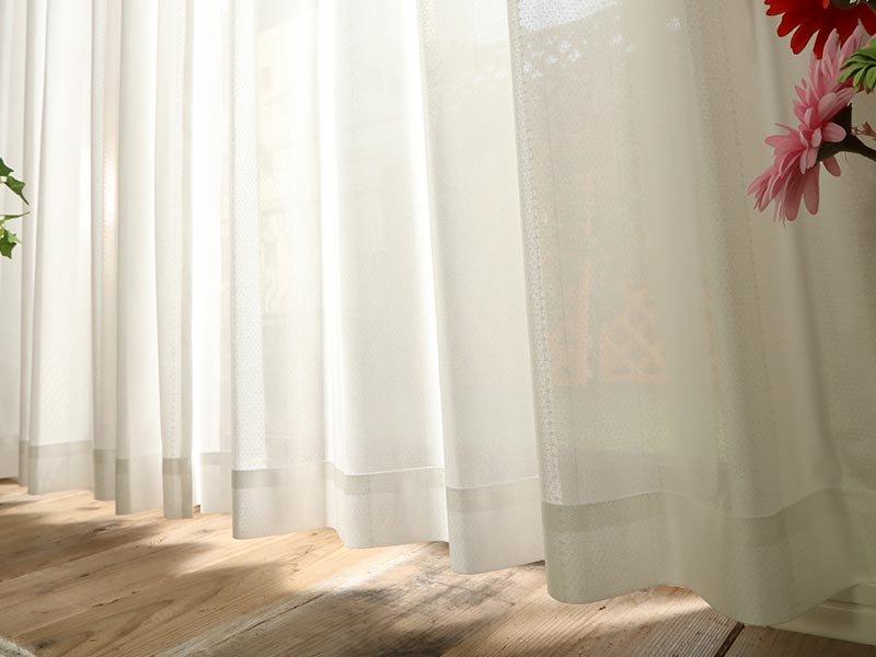 多機能で小さいドット柄がかわいいミラーレースカーテン 『シャロン』