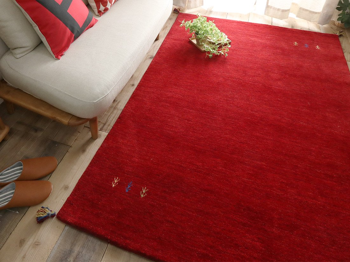 超激安!天然羊毛インド製手織りギャッベのラグマット『キヨラ レッド ラグマット』■190x190:欠品中(次回入荷確認中)