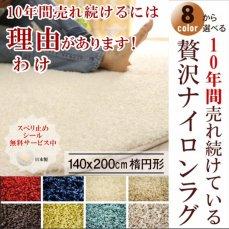 大人気!高級ナイロン素材100%のツイストシャギーラグ 140×200cm楕円 ジャスパー