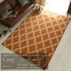 北欧モダンデザインのおしゃれなウィルトン織りカーペット 【コージー オレンジ】■133x195cm:完売