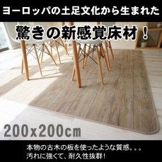 超高密度!木目が美しいゴシゴシ洗えるラグ 200x200cmKOBOKU(コボク) ホワイト