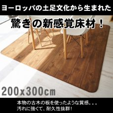 超高密度!木目が美しいゴシゴシ洗えるラグ 200x300cmKOBOKU(コボク) ダーク