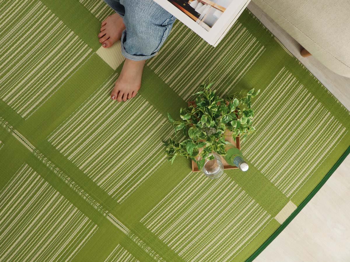 洗える!ビニール素材の日本製い草風カーペット 『ミロク グリーン』
