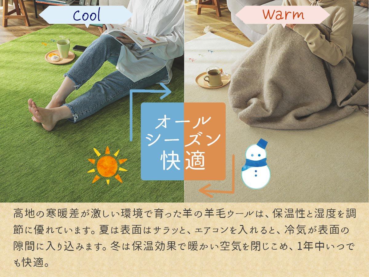 超激安!天然羊毛インド製手織りギャッベのミニマット『キヨラ アイボリー ミニマット』