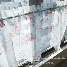 ≪Casa Fiore≫ 小窓に最適!きれいな花柄のカフェカーテン 【アンジュ】 幅150、丈48cm
