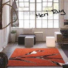 アートデザインのおしゃれなラグ 140x200cm約1.5畳 メリ オレンジ ■欠品中(次回入荷未定)
