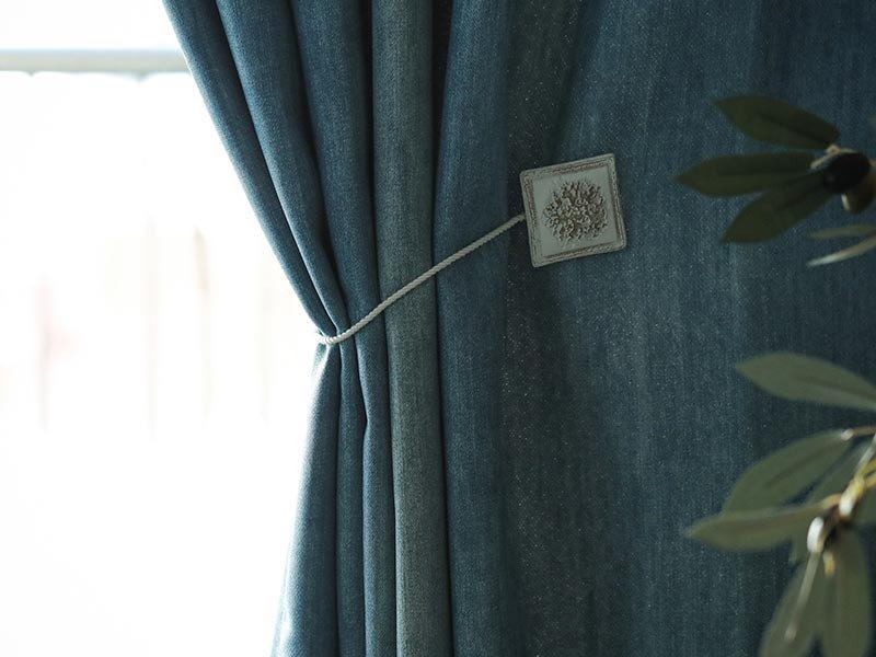 ジーンズデザインでクールな空間に!日本製の遮光ドレープカーテン 『デニムスタイル ブルー』