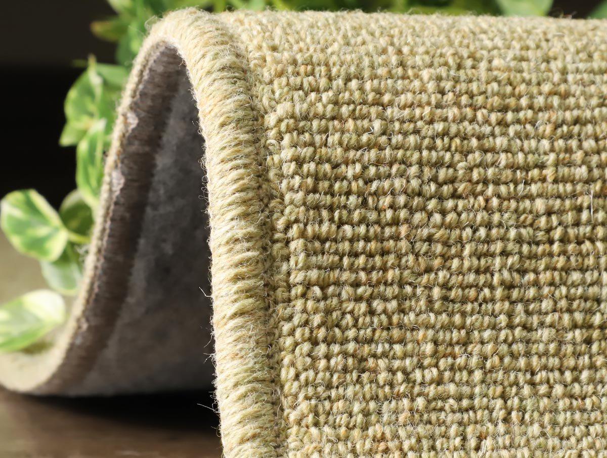 羊毛100%防炎・防ダニ効果付きナチュラルカーペット『ウールリリー グリーン』