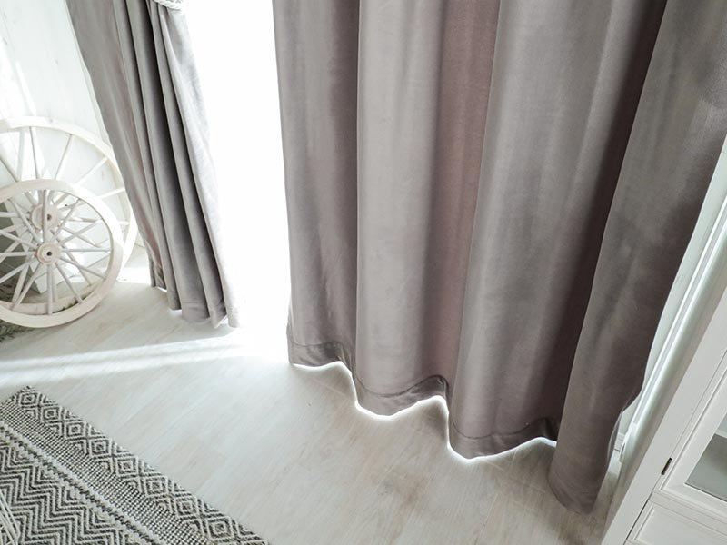 ウォッシャブルでお手入れ楽々!ベルベット素材のドレープカーテン 『シャビーベルベット パールグレー』■通常より納期がかかります