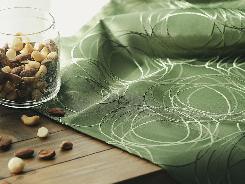 【激安!サイズ限定で即納可能】裏地付きの高機能ジャガード織りカーテン 『ティリオン ダークグリーン』
