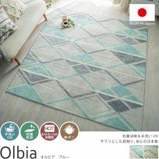 抗菌・防臭!安心の日本製デザインラグ『オルビア ブルー』