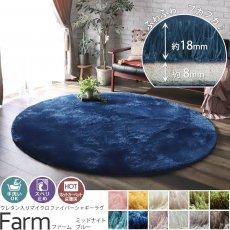 丸型がカワイイ!手洗いOK!スベリ止め付きマイクロファイバーラグ 『ファーム ミッドナイトブルー 約190cm円形』