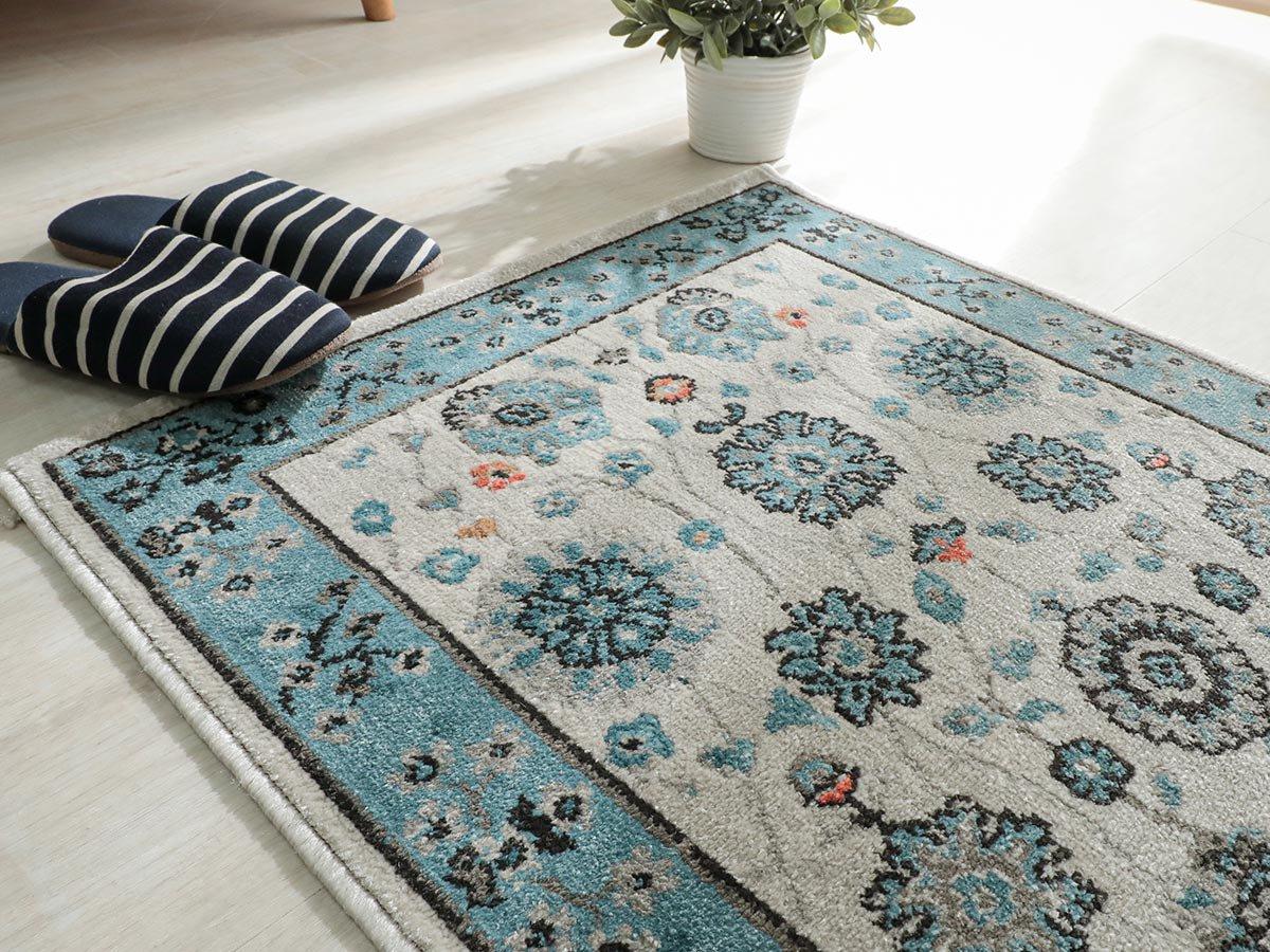 爽やかなカラーで織られたオリエンタルデザインマット『レクサ アイボリー 玄関マット』