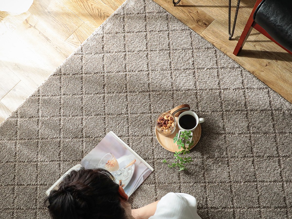 安心の防ダニ・抗菌加工 ナチュラルテイストなデザインのカーペット『カリナ ベージュ』