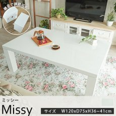オールシーズン使える!鏡面仕上げの真っ白なこたつテーブル『ミッシー 約120cmx75cmx36~41cm』■完売