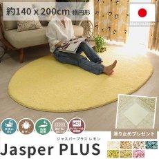 大人気!高級ナイロン素材100%のツイストシャギー楕円形ラグ『ジャスパープラス レモン 約140x200cm 楕円形』