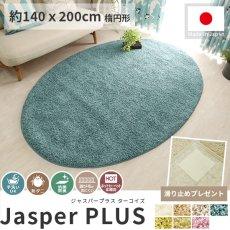 大人気!高級ナイロン素材100%のツイストシャギー楕円形ラグ『ジャスパープラス ターコイズ 約140x200cm 楕円形』