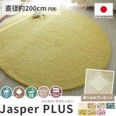 大人気!高級ナイロン素材100%のツイストシャギー円形ラグ『ジャスパープラス レモン 直径約200cm 円形』