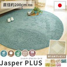 大人気!高級ナイロン素材100%のツイストシャギー円形ラグ『ジャスパープラス ターコイズ 直径約200cm 円形』