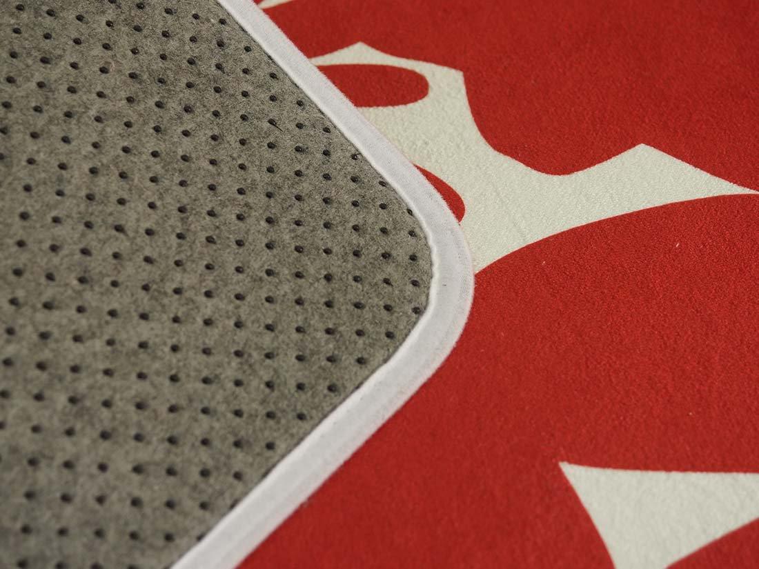 【アウトレット】704071洗える!さらふわフランネルのおしゃれな北欧デザイン玄関マット『フランネルテュット レッド 約50x80cm 』■在庫限りで完売