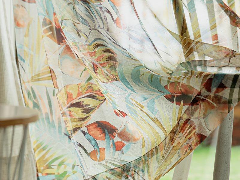 お部屋をリゾート空間に!トロピカル柄国産レースカーテン『ペッカー グリーン』