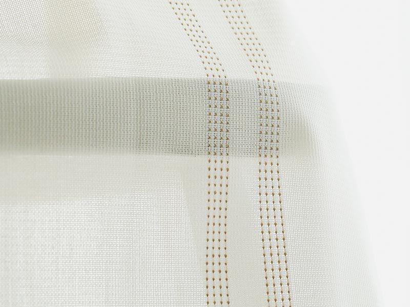 抗菌・抗ウイルス機能でクリーンな空間に!刺し子調のストライプが可愛いボイルレースカーテン 『リッタ ベージュ』