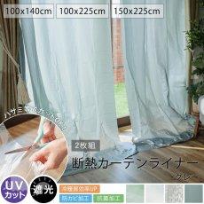 【アウトレット】お部屋の冷暖房効率UP!UVカット・防カビ抗菌加工・遮光効果 『断熱カーテンライナー2枚入り グレー』