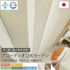 カットOK!抗菌防臭・花粉キャッチ・断熱効果のアコーディオン式カーテン 『キャレ ベージュ』