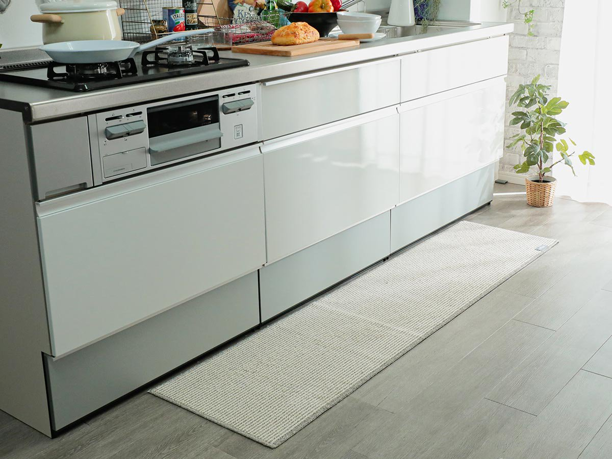 丸洗いOK!シンプルお洒落なキッチンに似合うキッチンマット『フェリシー』
