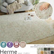 手洗い可能!長めの毛足がふわふわのミックスカラーデザイン100サイズオーダーカーペット『エルメ アイボリー』