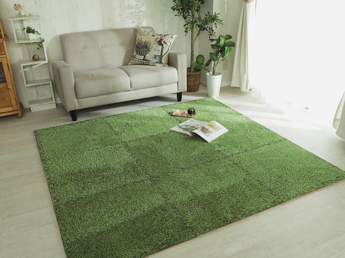 【9枚組】気分はまるで芝生の上♪お家でアウトドア気分を楽しめるタイルカーペット『シバルン』