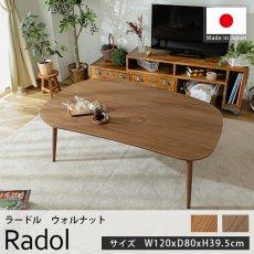 オールシーズン使える!国産材使用のカジュアルテイストのこたつテーブル『ラードル ウォルナット 約120cmx80cmx39.5cm』