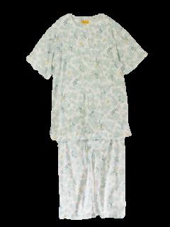 婦人 半袖 かぶりパジャマ<br>「レトロフラワーグリーン」薄地・天竺