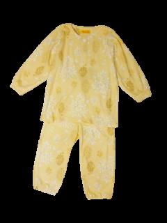 ベビー 女の子 長袖 かぶり パジャマ<br>「うさぎの森イエロー」 80-100