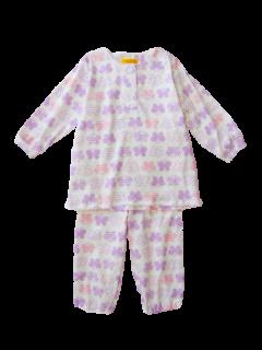 ベビー 女の子 長袖 かぶり パジャマ<br>「ちょうちょ」 80-100