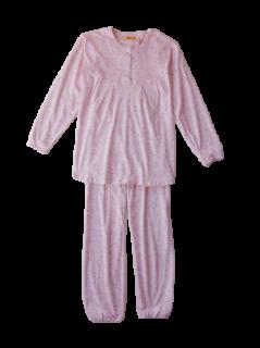 婦人 長袖 胸切り替えパジャマ<br>「花畑」