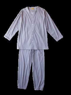紳士 長袖 前開きパジャマ<br>「スクエアドット」