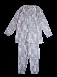 紳士 長袖 前開きパジャマ<br>「コラージュグレー」
