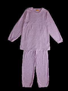 婦人 長袖 胸切り替えパジャマ<br>「マーガレット パープル」