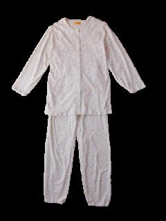 婦人 長袖 前開きパジャマ<br>「小花イエロー」