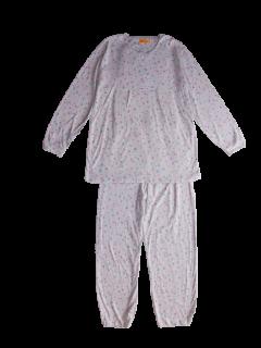 婦人 長袖 胸切り替えパジャマ<br>「小花パープル」