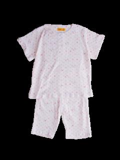 ベビー 女の子 半袖 かぶり パジャマ<br>「小さなゾウ ピンク」 80-100