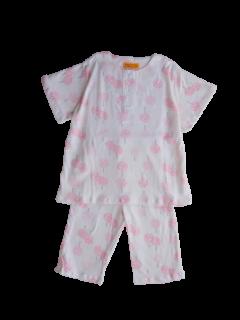 ベビー 女の子 半袖 かぶり パジャマ<br>「ピンクの木」 80-100